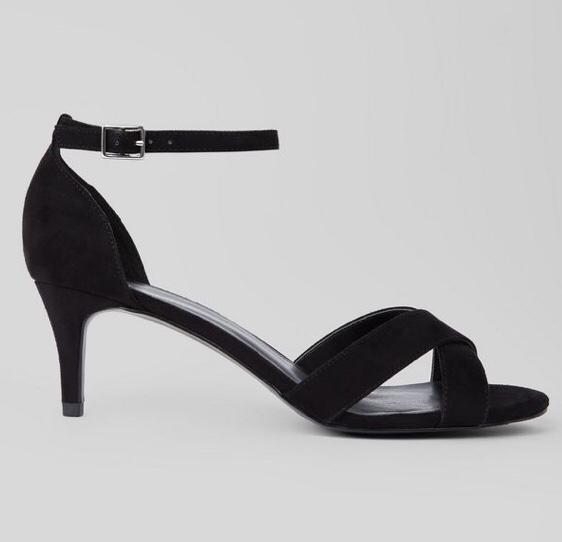 Kitten Heel Black Sandals